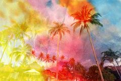 Beautiful watercolor palm trees Stock Photography