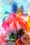 Beautiful watercolor palm trees Stock Image