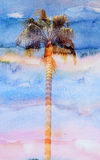 Beautiful watercolor palm trees Royalty Free Stock Photos