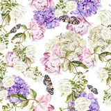 Beautiful watercolor pattern with flowers  hudrangea, peony and roses. Stock Photos