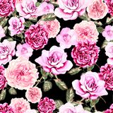 Beautiful watercolor pattern with flowers rose and peony. Royalty Free Stock Photo