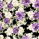 Beautiful watercolor pattern with flowers rose and peony. Illustration royalty free stock images