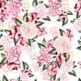 Beautiful watercolor pattern with flowers rose, peony and petunia flowers. Royalty Free Stock Photography