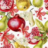 Beautiful watercolor pattern with fruits and Royalty Free Stock Photos