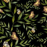 Beautiful watercolor pattern with leaves and butterflies. Royalty Free Stock Photography