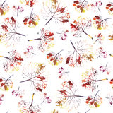 Beautiful watercolor pattern of leaves. handmade painted. beautiful seamless texture background imprint Royalty Free Stock Images
