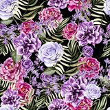 Beautiful watercolor pattern with peony and rose flowers, lilac and tropical leaves. Royalty Free Stock Photography