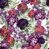Beautiful watercolor pattern with peony and rose flowers, lilac and tropical leaves. Stock Photo