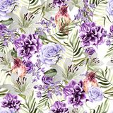 Beautiful watercolor pattern with peony and rose flowers, lily and tropical bird, lilac and leaves. Royalty Free Stock Photos