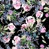 Beautiful watercolor pattern with pink flowers. Stock Photography