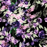 Beautiful watercolor pattern with purple and pink flowers. Royalty Free Stock Photography
