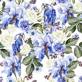 Beautiful watercolor pattern with roses, anemone flowers and par Stock Photos