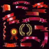 Beautiful watercolor ribbons set for design Royalty Free Stock Image