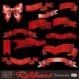 Beautiful watercolor ribbons set for design Royalty Free Stock Photos