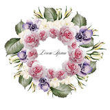 Beautiful watercolor of roses and flower anemone . Bridal wreath. Illustration Royalty Free Stock Photos