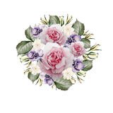 Beautiful watercolor of roses and flower anemone . Bridal wreath. Royalty Free Stock Photos