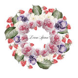 Beautiful watercolor of roses, flower anemone and raspberries . Bridal wreath. Royalty Free Stock Image