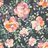 Beautiful watercolor roses, vintage painting inspired - seamless background Royalty Free Stock Photo