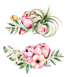 Beautiful watercolor round frame border with peony,field bindweed,branches,lupin,air plant,strawberry. Handpainted illustration.Can be used for greeting card Royalty Free Stock Photos