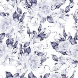 Beautiful watercolor seamless pattern with roses and bud.