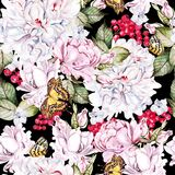 Beautiful  watercolor seamless pattern with roses and peony, red currant, butterfly.