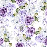 Beautiful watercolor seamless pattern with  white and purple roses, bud and flowers.