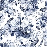 Beautiful watercolor seamless wedding pattern with eucaluptys, crocus and butterfly. Illustration royalty free illustration