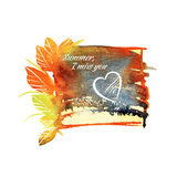Beautiful watercolor, summer frame with text and heart. Stock Image