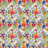 Beautiful Watercolor Summer Garden Blooming Flowers Seamless Pattern. Royalty Free Stock Photos