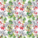 Beautiful Watercolor Summer Garden Blooming Flowers Seamless Pattern. Royalty Free Stock Image