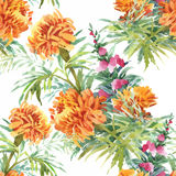 Beautiful Watercolor Summer Garden Blooming Flowers Seamless Pattern. Royalty Free Stock Photography