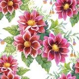 Beautiful Watercolor Summer Garden Blooming Flowers Seamless Pattern. royalty free illustration