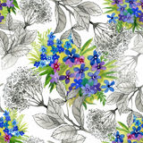 Beautiful Watercolor Summer Garden Blooming Flowers Seamless Pattern Royalty Free Stock Photography