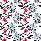 Beautiful Watercolor Summer Garden Blooming Flowers Seamless Pattern. On white background Royalty Free Stock Photography