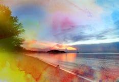 Beautiful watercolor sunset Stock Image