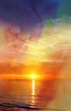 Beautiful watercolor sunset Stock Photos