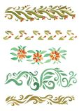 Beautiful watercolor swirls different styles Royalty Free Stock Images