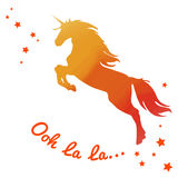 Beautiful watercolor unicorn in Fiery orange tones colors. Text ooh la la.. Royalty Free Stock Images