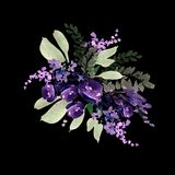 Beautiful watercolor wedding bouquet with purple flowers. Stock Image