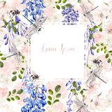 Beautiful watercolor wedding card with roses and wisteria flowers. Illustration vector illustration