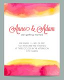 Beautiful watercolor wedding invitation card Stock Images