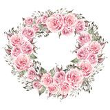 Beautiful  watercolor wedding wreath with eucalyptus and roses. vector illustration