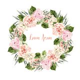 Beautiful Watercolor Wedding Wreath with roses and peony. Illustration Stock Photos