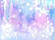 Watercolor winter abstract background with icicles and snowflakes Stock Image