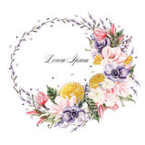 Beautiful watercolor wreath with lavender flowers, anemone, magnolia and orange fruits. Royalty Free Stock Image