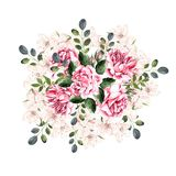 Beautiful Watercolor Wreath with roses and spring flowers. Illustration stock illustration