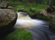 Beautiful waterfall. Stream in the forest with stones covered by moss Royalty Free Stock Images