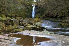 Beautiful waterfall, Afon Caerfanell mountain river, Blaen-y-Glyn Royalty Free Stock Photos