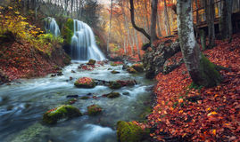 Beautiful waterfall in autumn forest in crimean mountains at sun Royalty Free Stock Image