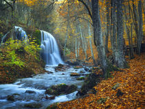 Beautiful waterfall in autumn forest in crimean mountains at sun Stock Images